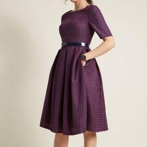 4X Modcloth Plus Size Retro Red Plaid Dress